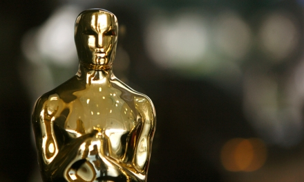 An actual Oscar statuette to be presented during the 79th Annual Academy Awards sits in a display case in Hollywood